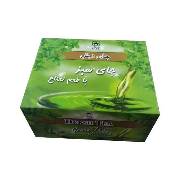چای سبز کیسه ای با طعم نعناع دبش(بسته 50 عددی)