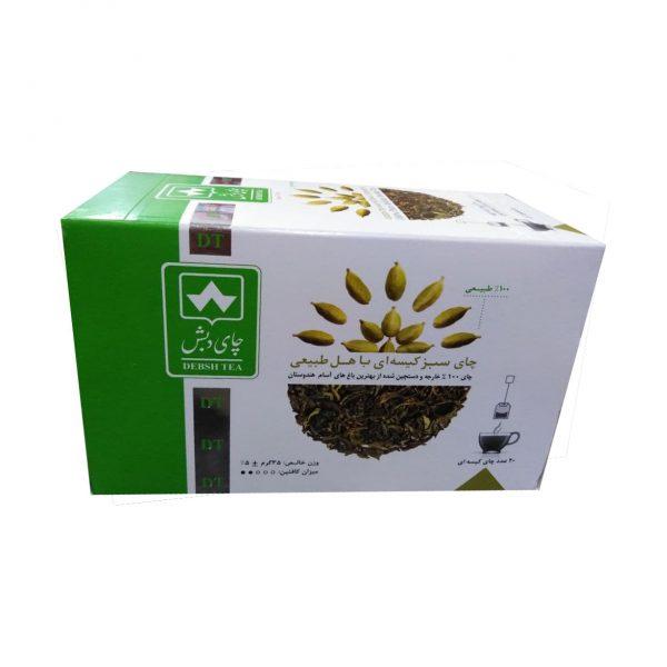 چای سبز کیسه ای با هل طبیعی دبش بسته 20 عددی