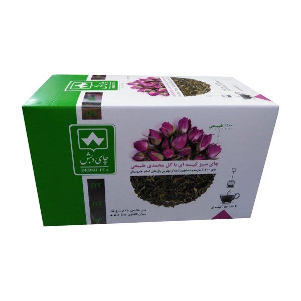 چای سبز کیسه ای با گل محمدی دبش بسته 20 عددی