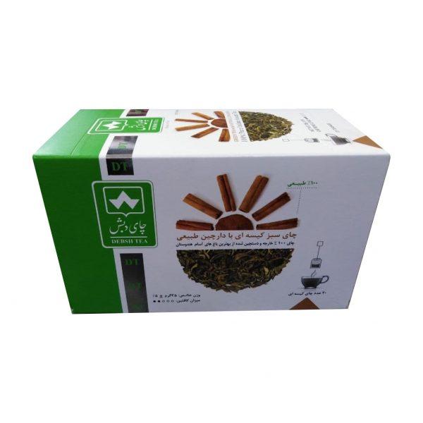 چای سبز کیسه ای دارچین طبیعی دبش بسته 20 عددی