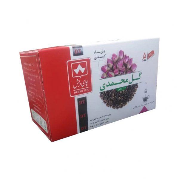 چای سیاه کیسه ای گل محمدی دبش بسته ۲۵ عددی