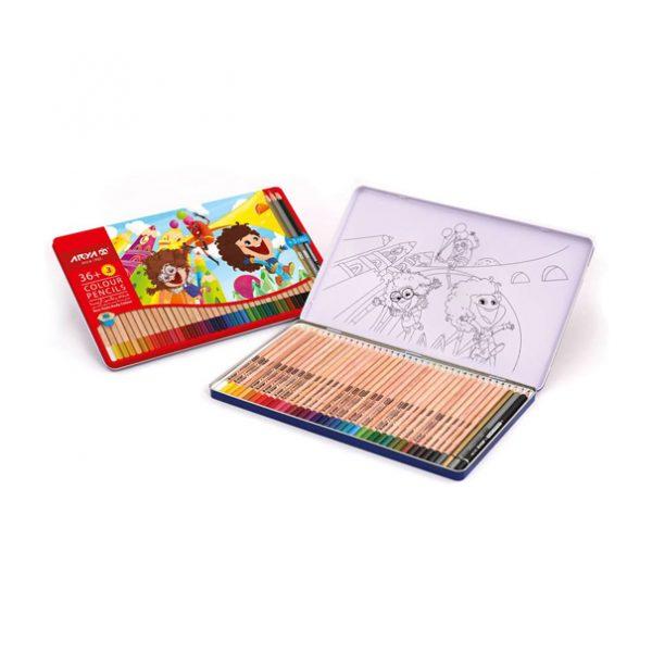 مداد رنگی 36 رنگ جعبه فلزی آریا